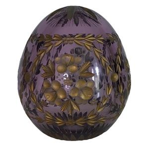 Russian Glass Egg Paperweight Lavender and Gold